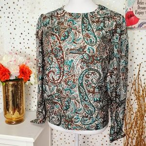 DONNKENNY vintage shirt blouse size 12 boteh print